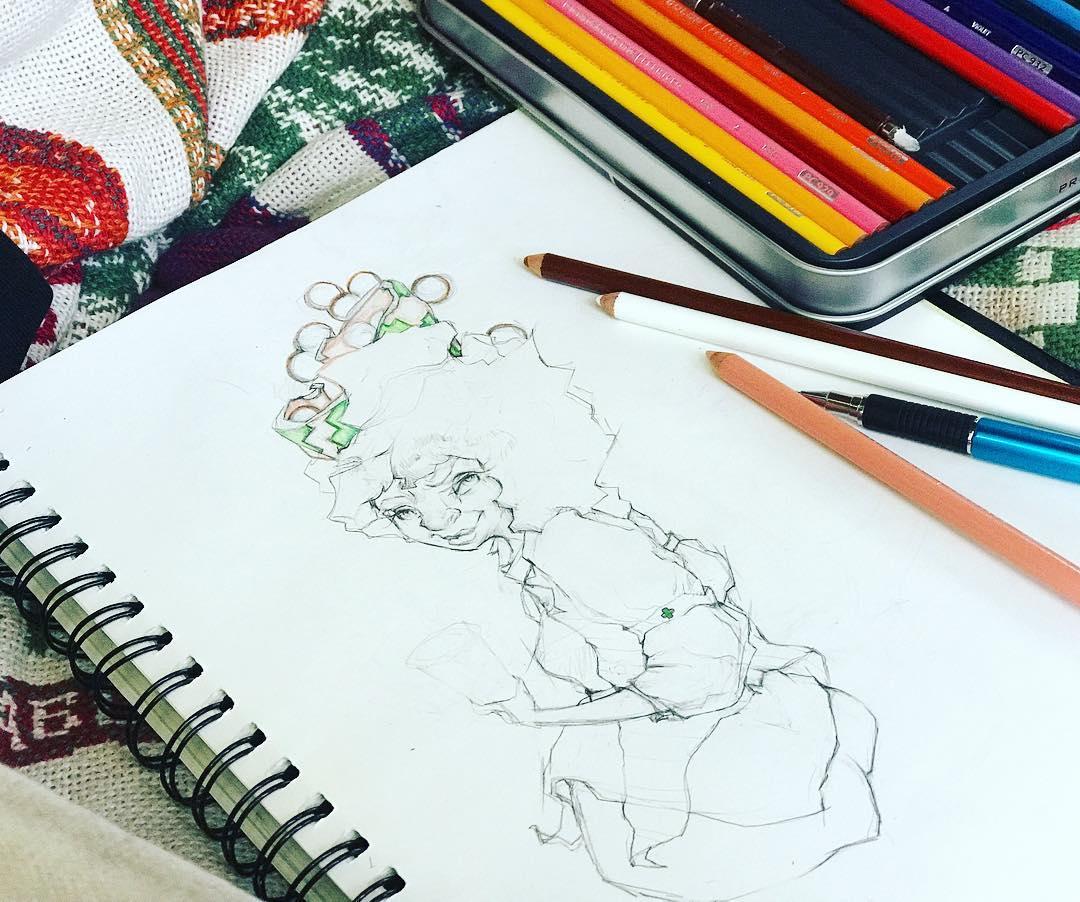 [ Medicated Boba Girl // 2018 // Pencil & Colored Pencil ]