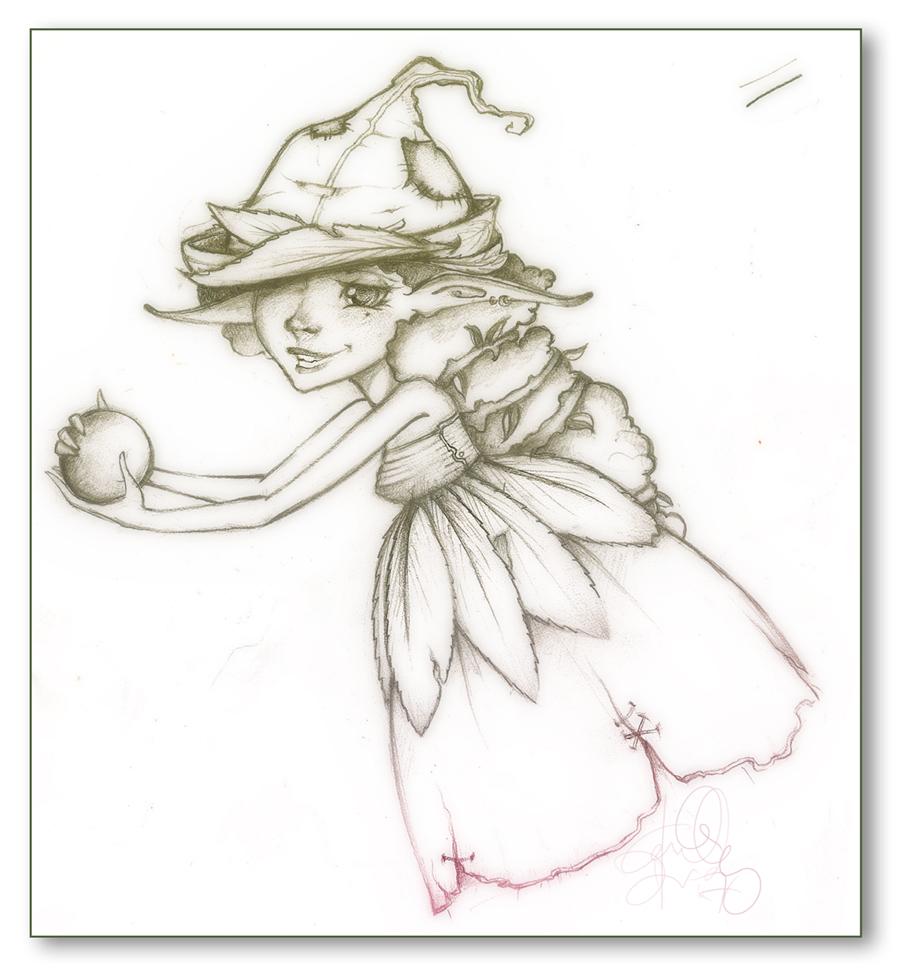 [ Valley Fairy | Leaf // pencil sketch // 2007 ]